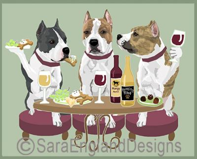 AmStaff Terrier Dog's WINEing Print
