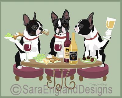 Boston Terrier Dog's WINEing