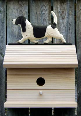 Basset Hound Dog Bird House - Black/White