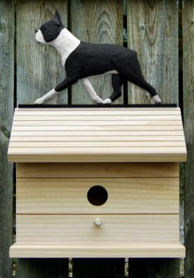 Boston Terrier Dog Bird House - Black/White