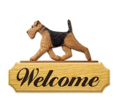 Airedale Terrier Dog Welcome Sign