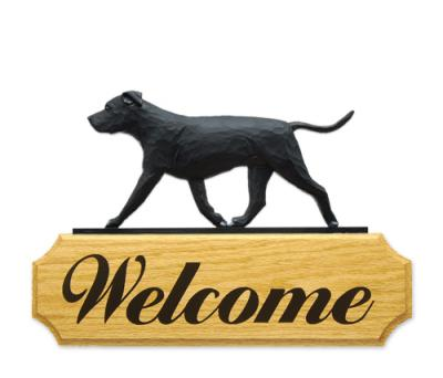 American Staffordshire Terrier (Natural)  Dog Welcome Sign - Black