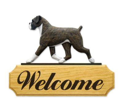 Boxer, Natural Dog Welcome Sign