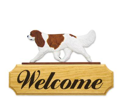 Cavalier King Charles Spaniel Dog Welcome Sign - Blenheim