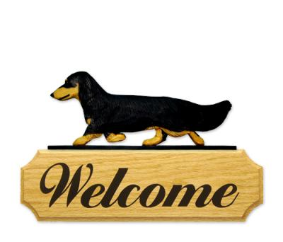 Long Hair Dachshund Welcome Sign - Black/Tan