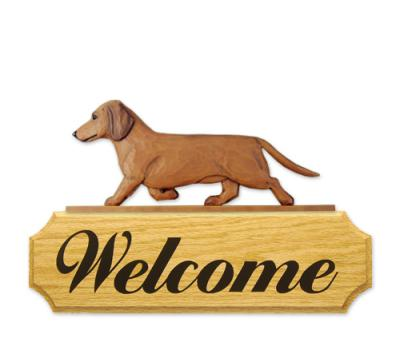 Smooth Dachshund Welcome Sign - Red
