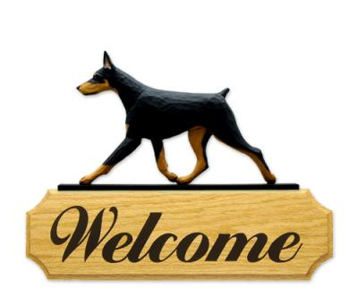 Doberman Pinscher Dog Welcome Sign