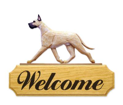 Great Dane Dog Welcome Sign - Fawn