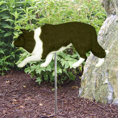 Border Collie Dog Garden Stake - Black/White