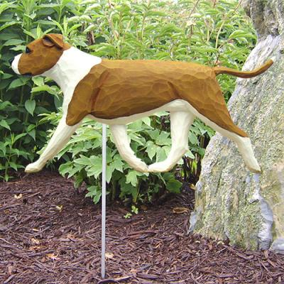 AmStaff Terrier (Natural) Dog Garden Stake - Red/White