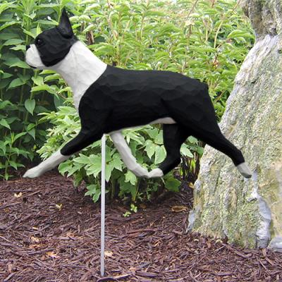 Boston Terrier Dog Garden Stake - Black/White