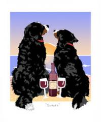 Bernese Mountain Dog Sunset Dogs