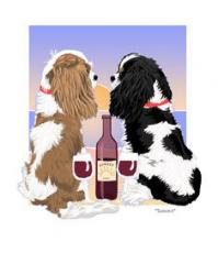 Cavalier King Charles Spaniel Sunset Dogs