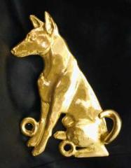 Basenji Bronze Dog Hook