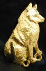 Norwegian Elkhound Bronze Dog Hook