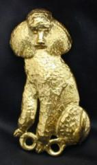 Poodle - Sitting Bronze Dog Hook