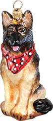 German Shepherd w/Bandana Dog Ornament