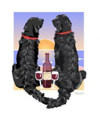 Flat Coated Retriever Sunset Dogs