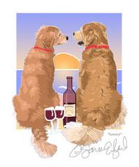 Golden Retriever Sunset Dogs