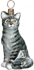 Gray American Shorthair Cat Ornament