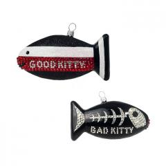 Good Kitty Bad Kitty Crystal Ornament