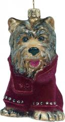 Yorkie w/ Red Velvet Coat