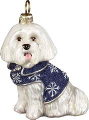 Maltese w/Blue Snowflake Coat