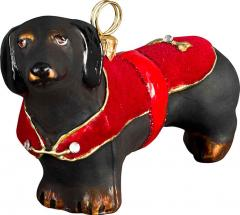 Dachshund Black w/Red Velvet Coat