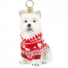 Westie w/Red Nordic Sweater Ornament