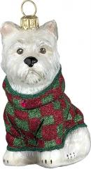 Westie w/Red Green Checkered Coat