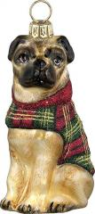 Pug w/ Tartan Plaid Coat