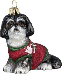 Shih Tzu w Red Green Sweater