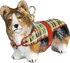 Pembroke Welsh Corgi <br />with Tartan Plaid Coat