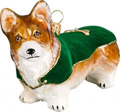 Pembroke Welsh Corgi w/Green Velvet Coat