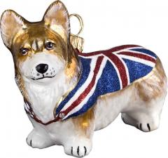 Pembroke Welsh Corgi w/Union Jack Flag