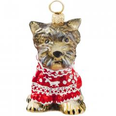 Yorkie w/Nordic Sweater Ornament