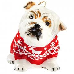 Bulldog w/Nordic Sweater Ornament