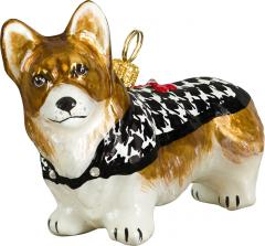 Pembroke Welsh Corgi w/Houndstooth Coat