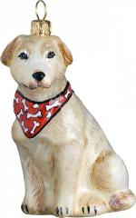 Yellow Labrador Retriever w/Bandana Dog Ornament
