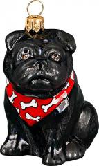 Pug (Black) with Bandana Dog Ornament