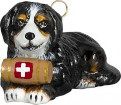 Bernese Mountain Dog w/Barrel Dog Ornament