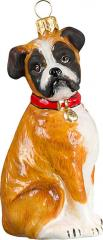Boxer Sitting (Natural Ears) Dog Ornament