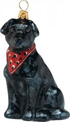 Black Labrador Retriever w/Bandana Dog Ornament