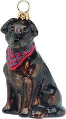 Chocolate Labrador Retriever w/Bandana Dog Ornament