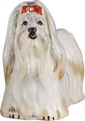 Maltese with Red Bow Dog Ornament