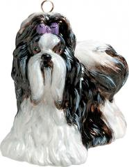 Shih Tzu (Black/White) Dog Ornament