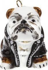 Bulldog in Motorcycle Jacket Ornament