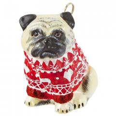 Pug w/Red Nordic Sweater Ornament - New for 2016