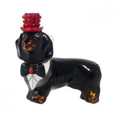 Dachshund (Black) w/Crystal Top Hat & Tails