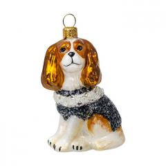 Cavalier w/BW Beaded Coat Dog Ornament